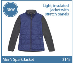 Men's Spark Jacket. Light, insulated jacket with stretch panels.$145. BUY NOW.