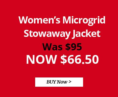 Women's Microgrid Stowaway Jacket. WAS $95. NOW $66.50. BUY NOW.