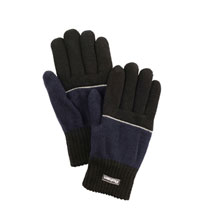 Knitted gloves with reflective piping.