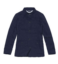 Functional linen travel jacket.