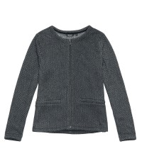 Technical, smart-casual collarless fleece jacket.
