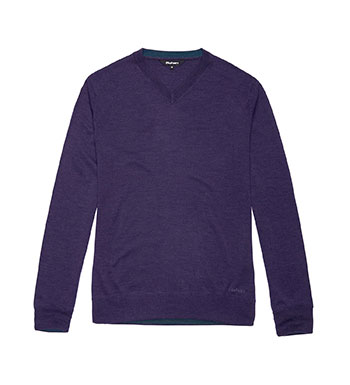 100% natural merino v-neck pullover.